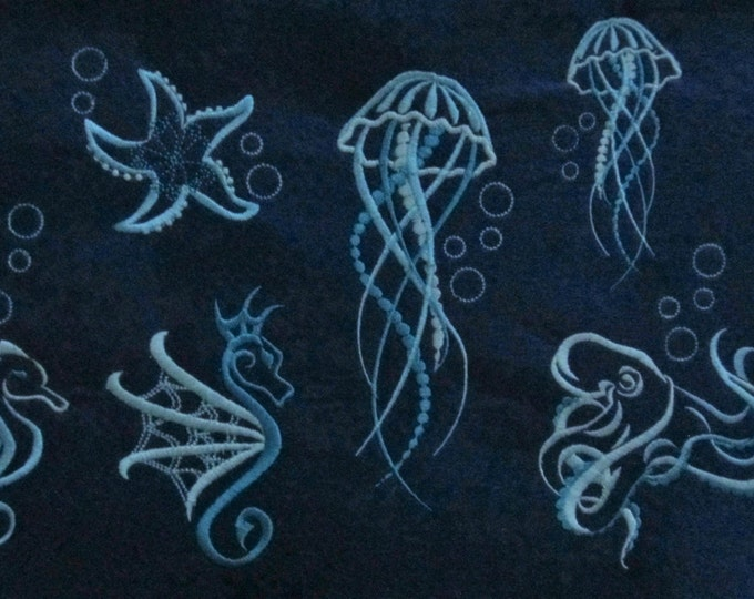 Sea life outline embroidery, octopus, seahorse, jellyfis, simply octopus, starfish, sea star, designs, 4x4, 5x7, octopus silhouette