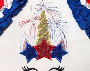 Pretty eyes Unicorn head with star stars crown patriotic applique machine embroidery designs Rainbow unicorn embroidery unicorn face