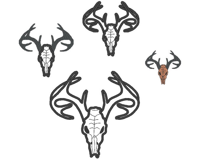 Buck deer head skull - machine embroidery applique and filled designs for hoop 4x4, 5x7, 6x10