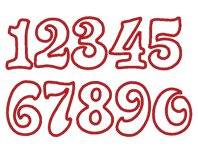 Wide satin stitch Numbers , machine embroidery applique designs - 2, 3, 4, 5 and 6 inches  INSTANT DOWNLOAD
