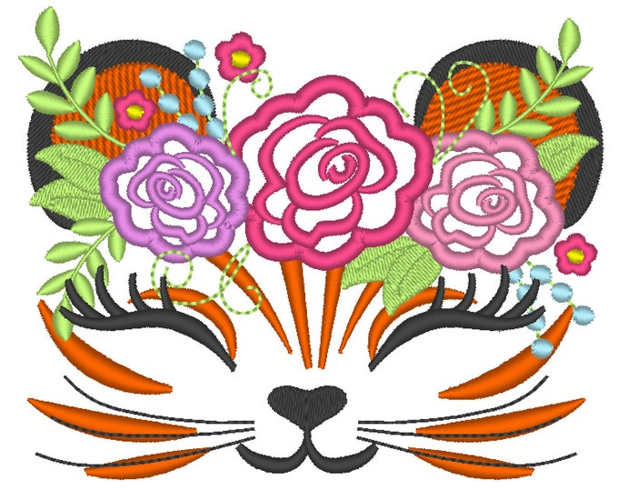 Pretty eyes Tiger head with shabby chick roses crown applique machine embroidery applique embroidery design tiger face Tigers Flowers