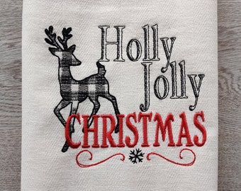 Holly Jolly Christmas Merry Christmas gingham old fashioned classic Kitchen dish towel quote machine embroidery designs 4x4, 5x7