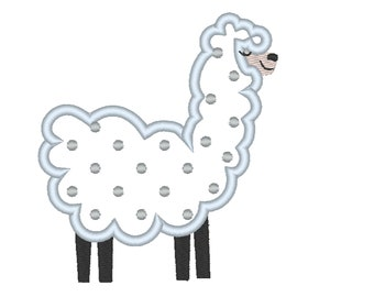 Polka dot Lama, llama - machine embroidery applique designs - assorted sizes, download for hoop 4x4, 5x7