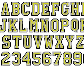 2 outlines 3 colors fill stitch Athletic Varsity Collegiate block type Font machine embroidery designs sport alphabet letters & numbers