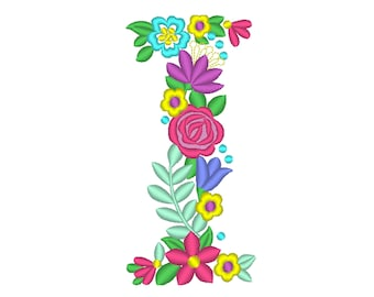 Floral letter I garden flag monogram liberty fashioned flowers flower Font machine embroidery designs monogram I only 4, 5, 6 and 8 in