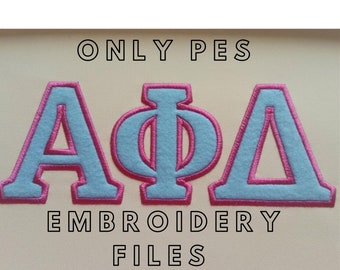 ONLY PES files Fraternities and sororities Greek font, alphabet simple applique with contrast outline embroidery font machine embroidery