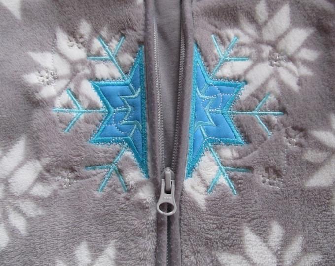Frozen snowflake winter queen split applique split design for zipper hoodie embroidery, machine embroidery designs applique 4, 5, 6 and 7 in