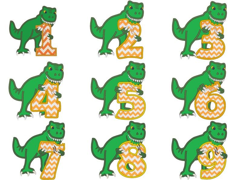 T-rex dinosaur Birthday numbers WHOLE set  1 9 machine image 0