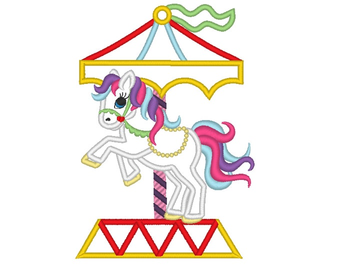 Little Carousel horse machine embroidery applique designs 5x7 and 6x10 INSTANT DOWNLOAD