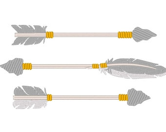 Arrows, single arrow embroidery designs collection, 5 types in multiple sizes 4, 5, 6 and 7 inches INSTANT DOWNLOAD dart arm boom shaft