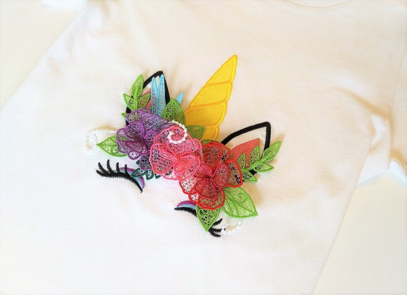 Lace free standing FSL Unicorn head with shabby chick roses crown applique  machine embroidery designs in the hoop Rainbow unicorn face FSL