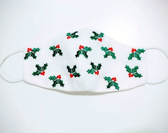 Holly Leaves Easy protective Face Mask Machine Embroidery ITH project, In the hoop embroidery project to make face mask
