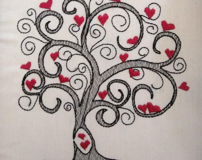 Love tree sketch stitch embroidery designs  4x4, 5x7, 6x10