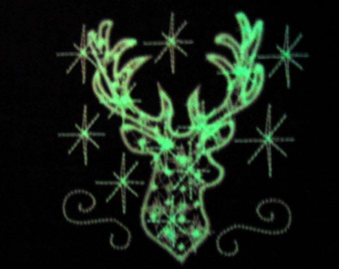 Deer, deer glow, deer sparkle, deer Christmas glow in the dark,  Glow in the dark special designed machine embroidery  INSTANT DOWNLOAD