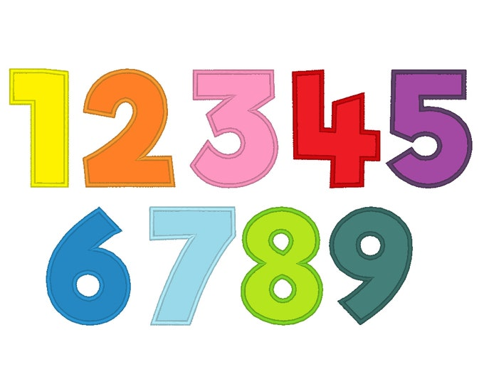 Wide satin stitch Numbers, machine embroidery applique designs - 2, 3, 4, 5, 6, and 8 inches