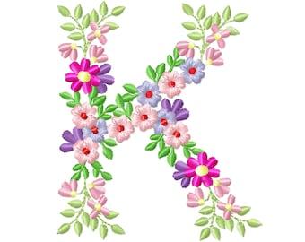 Country Floral letter K garden flag monogram flowers flower flowered Font machine embroidery designs monogram K only 3,5, 4, 5, 6, 7, 8 in