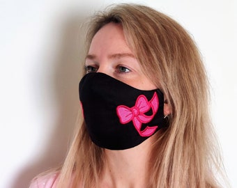 Easy protective Face Mask Machine Embroidery ITH project, In the hoop embroidery project to make face mask in-the-hoop Face mask with pocket