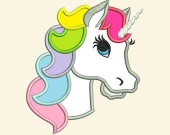 Unicorn head applique  - machine embroidery designs applique Rainbow unicorn embroidery - Rainbow unicorn pretty head face INSTANT DOWNLOAD