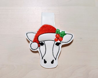 Christmas cow head, Santa hat cow face key fob ITH key fob snap tab mini machine embroidery design feltie in the hoop embroidery project