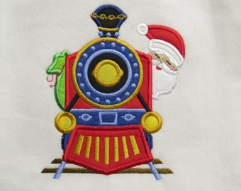 Santa on Christmas Train front - machine embroidery design - multiple sizes, for hoops  5x7 and 6x10  INSTANT DOWNLOAD