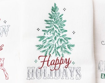 Happy Holidays - Light stitch old fashioned classic Christmas Kitchen dish towel quote saying machine embroidery design for hoop 5x7