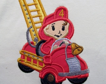 Fireman Birthday boy - machine embroidery designs, for hoops 4x4 and 5x7 INSTANT DOWNLOAD
