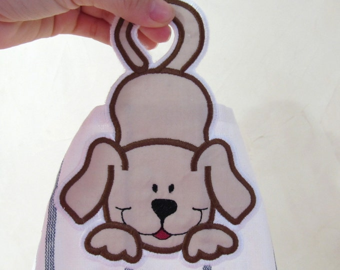 Funny puppy - towel hanging hole towel topper In The Hoop machine embroidery design ITH project for hoop 5x7, kids bath towel pet embroidery