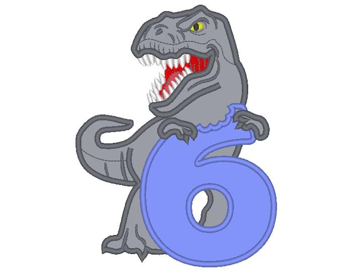 T rex dinosaur indominus eating Birthday number six 6, trex with bitten number 6 machine embroidery applique designs Birthday  5x7 6x10