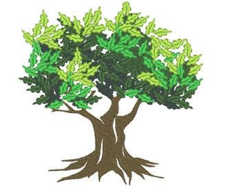 Majestic oak tree silhouette machine embroidery designs multiple sizes for hoops 4x4, 5x7, 6x10 woodland forest tree INSTANT DOWNLOAD