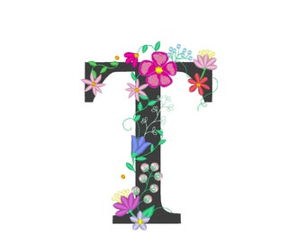 Floral letter T garden flag monogram lace swirl flowers block font and mini Font machine embroidery design monogram T only 4, 5, 6 and 8 in