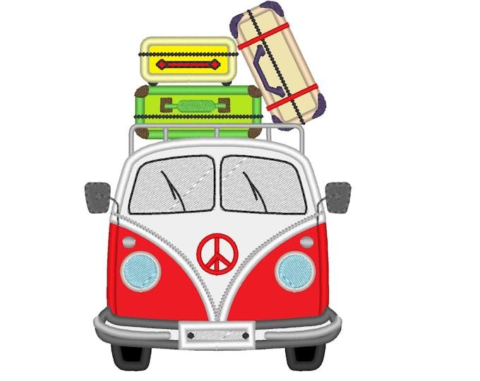 Camper, campervan, van bus, bug, summer holidays - machine embroidery applique designs, for hoop 4x4, 5x7 and 6x10  INSTANT DOWNLOAD
