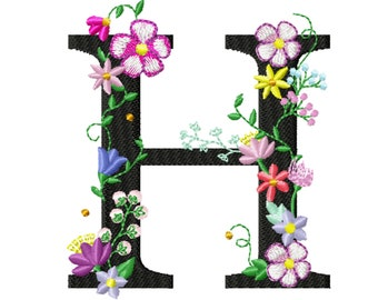 Floral letter H garden flag monogram lace swirl flowers block font and mini Font machine embroidery design monogram H only 4, 5, 6 and 8 in