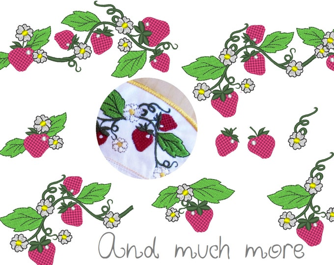 Strawberry sweets machine embroidery designs, Big set of various, may sizes