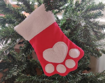 Paw Christmas Stockings and mini font Sock for advent, Easy to make In The Hoop ITH machine embroidery design INSTANT DOWNLOAD