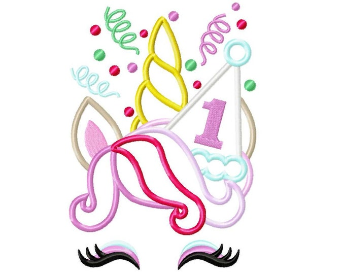 Birthday number ONE 1 rainbow Unicorn confetti crown birthday party hat applique machine embroidery design kids girl magic birthday outfit