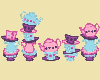 Mad hatter tea party collection - machine embroidery applique designs 4x4, 5x7