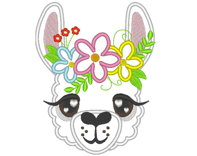 Llama loves you, llama face with shabby chick flowers  crown applique machine embroidery designs applique llama face drama llama design
