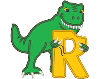T-rex dinosaur Birthday only one LETTER R machine embroidery Birthday outfit designs - for hoops 4x4, 5x7, 6x10  INSTANT DOWNLOAD