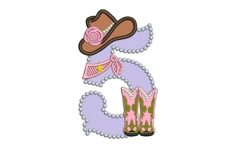 Apliques de bordado de Dama vaquero cumpleaños número cinco 5  13fe6e8ef2c