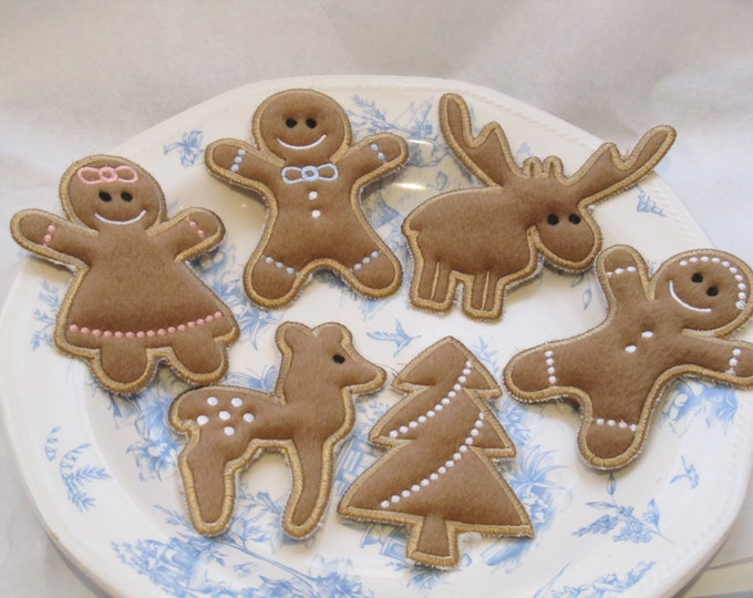 Cute Christmas Gingerbread set - machine embroider designs - ITH (in the hoop) 4x4 and 5x7 INSTANT DOWNLOAD