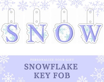Snowflake key fob snap tab Christmas gift idea personalized keychain gift tag Monogram A-Z ITH in the hoop 4x4 machine embroidery designs
