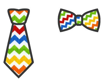 Necktie tie and Bowtie tie Boys Applique Machine Embroidery Designs set 2 types for embroidery hoop 4x4 and 5x7