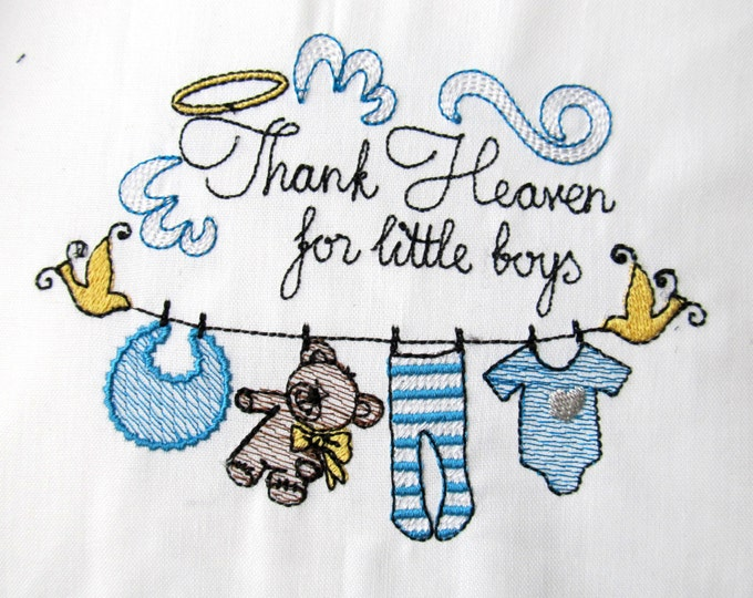 Thank Heaven for little boys, sketch stitch embroidery designs  4x4, 5x7, 6x10 INSTANT DOWNLOAD