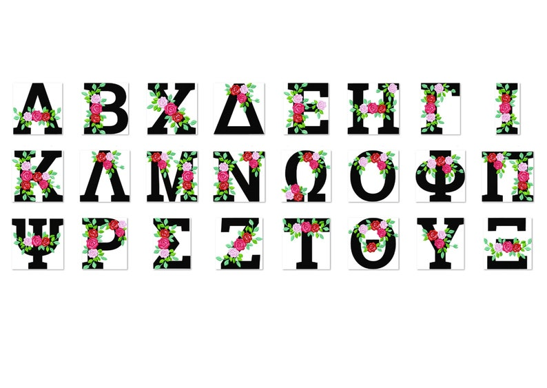 Fraternities & sororities Floral Greek font whole entire image 0