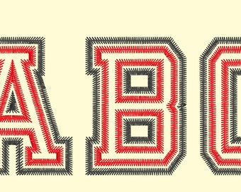 Small Mini Light Zig-Zag Double two applique Athletic Block collegiate Sport High School Team Players embroidery alphabet BX, PES, HUS font