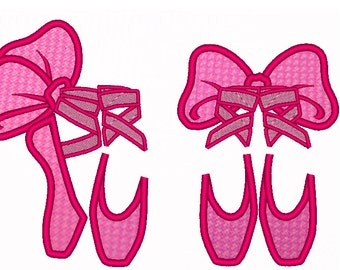 Ballerina Shoes - machine embroidery applique designs and satin stitch designs - 2 types - multiple sizes for hoop 4x4, 5x7 INSTANT DOWNLOAD