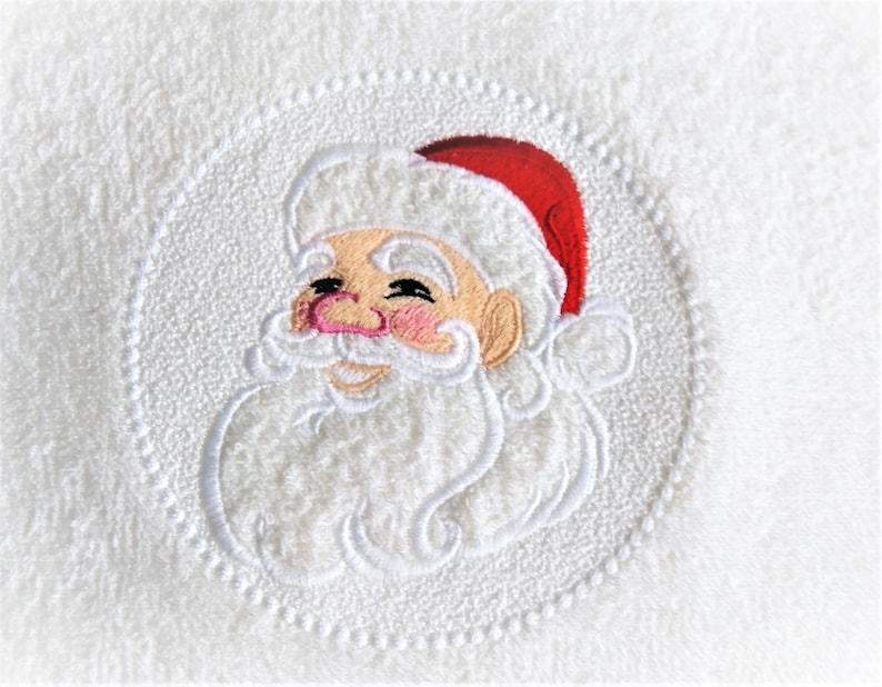 Embossed Terry Towel Santa Clause circle design  machine image 0