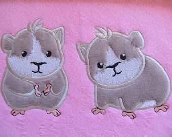 Hamster, little hamster, hamster applique embroidery, 2 embroidery hamsters, machine applique embroidery designs, mini, mice, 4x4, 5x7