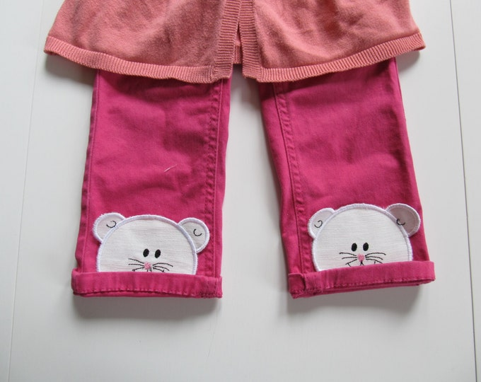 Walking loving mouse awesome kids trousers bottoms decorations machine embroidery applique designs ITH in the hoop project lovely mice patch