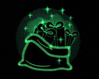 Christmas Santa Claus bag sack, sparkle gift bag gifts Glow in the dark special machine embroidery design for hoop 4x4, 5x7 INSTANT DOWNLOAD
